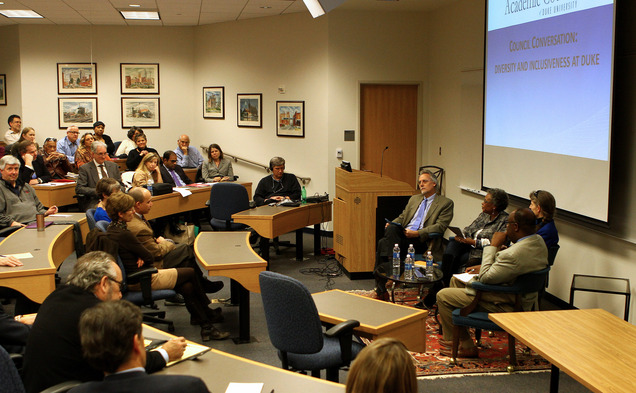 Council Chair Joshua Socolar, professor of physics, led the conversation and invited four guests to discuss the topic.