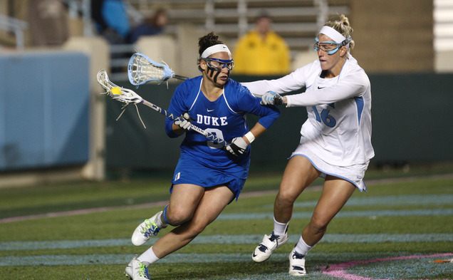 Senior Kerrin Maurer and the Blue Devils could not keep up with the top-seeded Terrapins Saturday.
