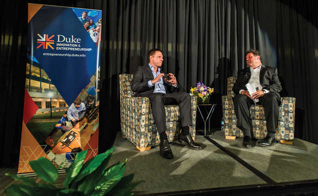 Peter Thiel, on left, participates in a Q & A led by Eric Toone at a Duke Innovation and Entrepreneurship Initiative event at Gross Hall Monday.