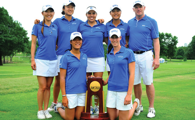 Head coach Dan Brooks led his team back from being down on the front nine in the final round to posing with Duke's sixth championship trophy.