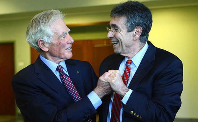 Dr. Robert Lefkowitz, James B. Duke professor of medicine, celebrated his Nobel Prize in chemistry with Dr. Ralph Snyderman, chancellor emeritus for health affairs in Fall 2012.