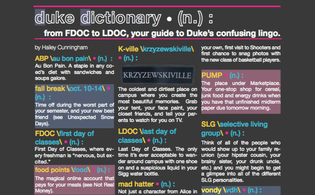 Duke lingo can get confusing. We're here to help.