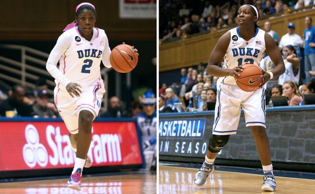 The loss of point guards Alexis Jones (left) and Chelsea Gray (right) has not swayed the Blue Devils' confidence heading into this year's NCAA tournament.