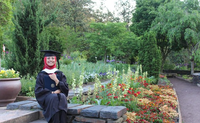 2015 graduate Safaa al-Saeedi was unable to celebrate her graduation with family because of obstacles preventing travel from her home country—Yemen. | Special to The Chronicle