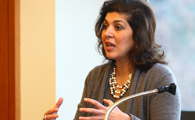 Farah Pandith, first special representative to Muslim communities, encouraged students to help improve relations between them and other religious groups.