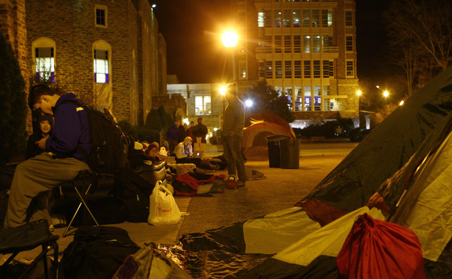 The Cameron Crazies were allowed to use tents as they waited out for the Ohio State game.
