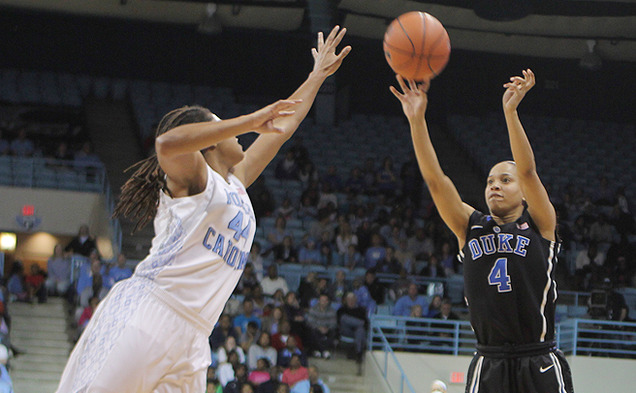 Chloe Wells led Duke with a career-high 18 points in the team's 21-point win against North Carolina.