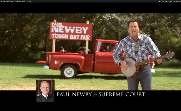 A banjo-themed video, paid for with fundraising dollars, contributed to the recent re-election of state Supreme Court Justice Paul Newby, Trinity '77.