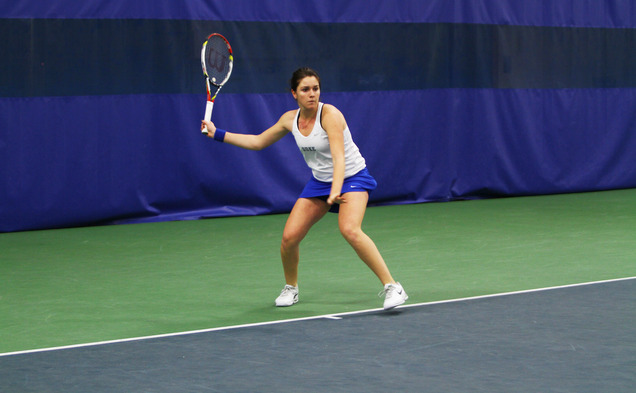 Senior Ester Goldfeld led the Blue Devils this weekend, as she posted semifinal  appearances in both singles and doubles play.