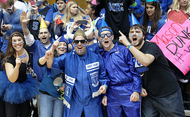 Sam Tasher, center in the Viking helmet, is in his eighth and final  year attending Duke. A win against Virginia Tech Tuesday would give Tasher 100 wins at Cameron Indoor Stadium.