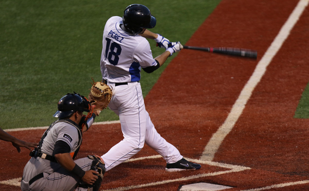 Designated hitter Cris Perez put Duke on the board with a two-out, two-run single early in Saturday's game.