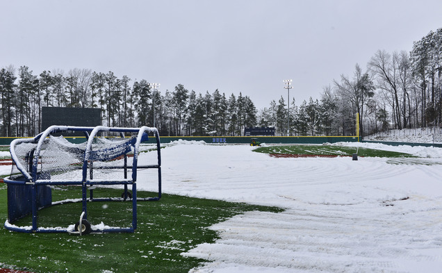 Duke's grounds crew started plowing snow off the field at Jack Coombs Stadium 8:30 Friday morning in preparation for the Blue Devils' delayed three-game homestand.