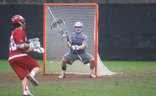With Luke Aaron in net, the Blue Devils will take the first step toward repeating as NCAA champions Sunday against Air Force.