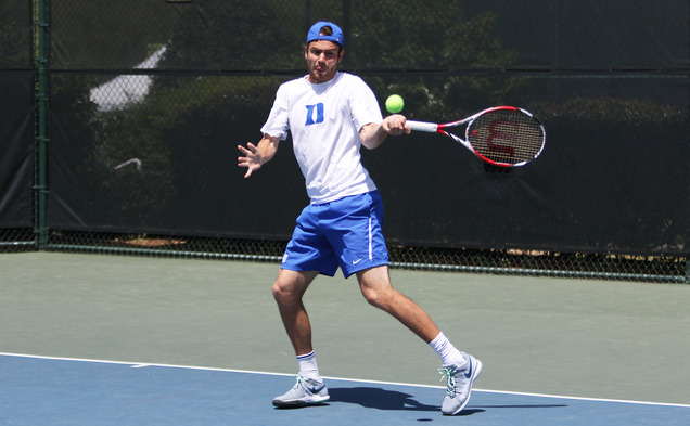 Senior Raphael Hemmeler notched an upset win in singles, but it was not enough for Duke to move on to the ACC tournament semifinals.