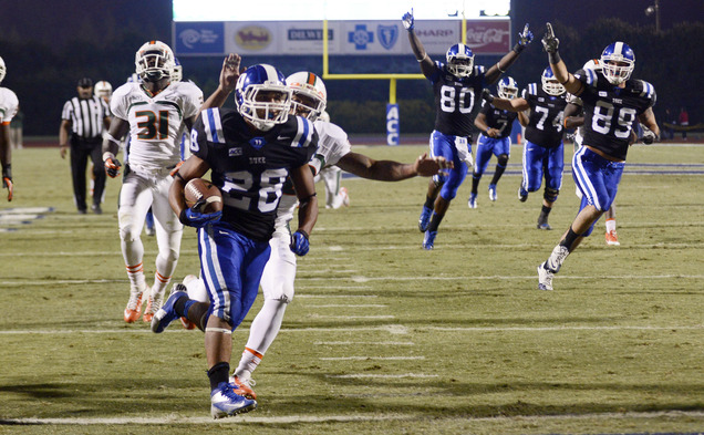 Sophomore Shaquille Powell's two touchdowns sparked the Blue Devils in their 48-30 victory against then-No. 24 Miami.