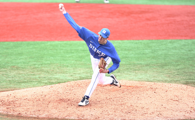 Sophomore Michael Matuella stymied Virginia Tech hitters all afternoon, pitching 8.2 scoreless innings in Duke's win.