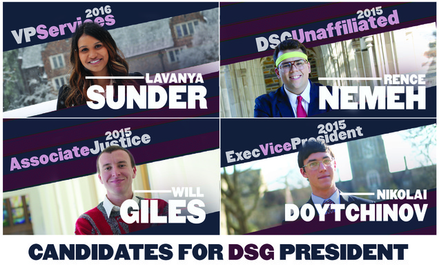 The four Duke Student Government candidates come from a variety of backgrounds.