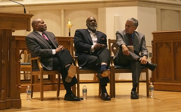 Three religious experts discuss linking black Christian and Muslim congregations through interfaith dialogue in a Divinity School event Monday evening.