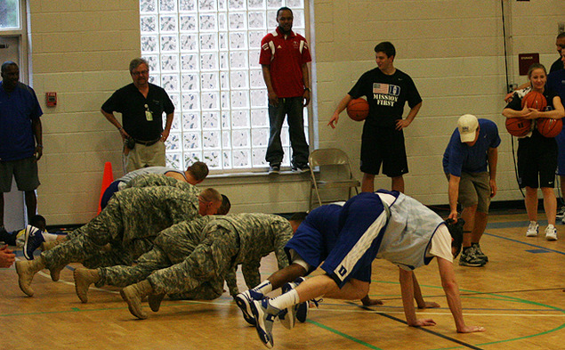 Duke held its first practice Friday, but they got in a different type of workout at Fort Bragg Monday.