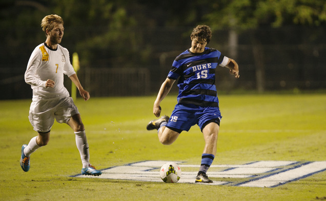 Junior defender Zach Mathers provided all the offense the Blue Devils would need Tuesday night, scoring a pair of goals to lead Duke to a 2-0 win against Appalachian State.