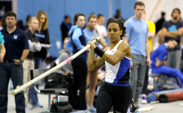 Junior Megan Clark set the Duke program record with a vault of 14 feet, 9  inches at the 2015 NCAA Indoor Championships.
