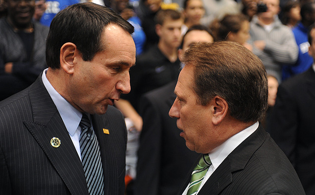 Duke basketball head coach Mike Krzyzewski is 6-1 against Michigan State head coach Tom Izzo.