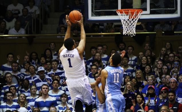 Freshman Jabari Parker scored a career-high 30 points and added 11 rebounds as the Blue Devils capped off the regular season with a win against North Carolina.