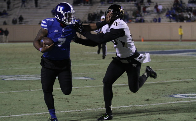 Redshirt senior Anthony Boone threw for a season-high 275 yards to lead the Blue Devils on Senior Day.