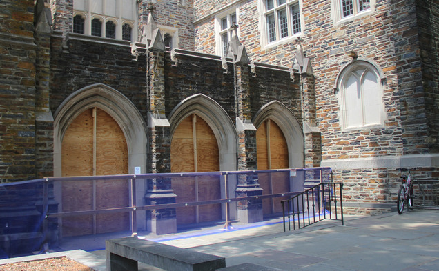 The closure of the main entrance to Perkins Library is just part of a slew of projects sweeping across Duke's West Campus.