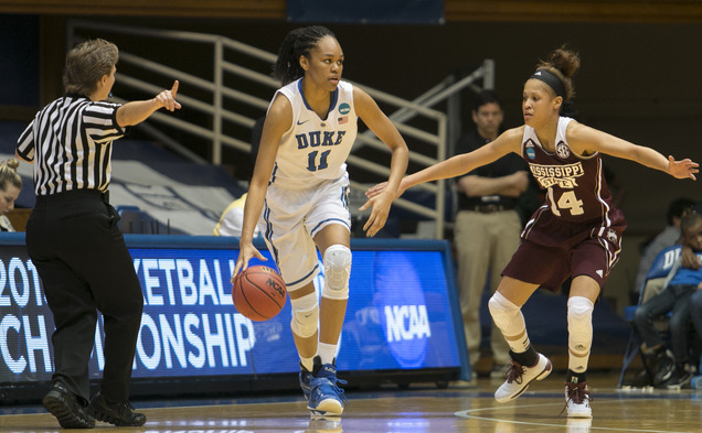 Freshman Azura Stevens scored 22 points and grabbed 10 rebounds in Duke's Round of 32 win against Mississippi State.