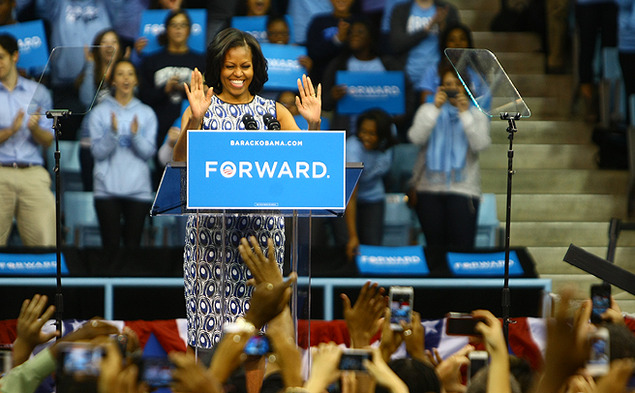 First lady Michelle Obama visited the University of North Carolina at Chapel Hill Tuesday to speak about issues pertinent to college-age voters.