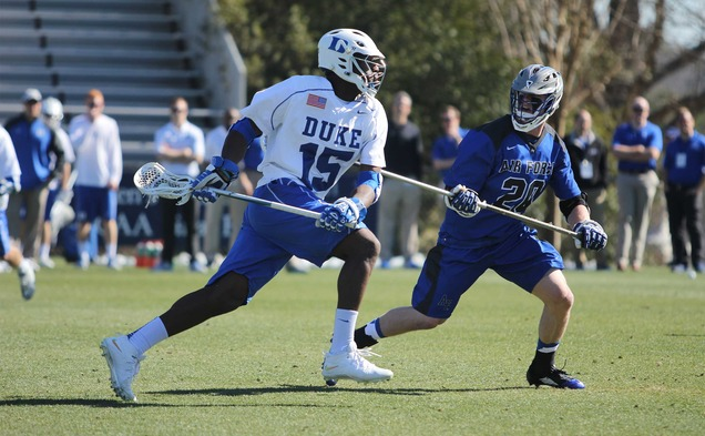 Junior Myles Jones will lead the Blue Devil midfield against No. 13 Harvard and Providence this weekend.