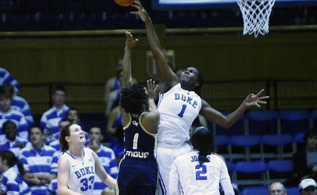 Elizabeth Williams scored 25 points with 11 rebounds, blocking six shots as Duke limited Georgia Tech to a 28.6 field goal percentage.