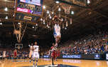 Having fresh legs on the court allowed Duke to get a number of easy buckets in transition, like this Jabari Parker dunk in the first half of a 95-60 victory.