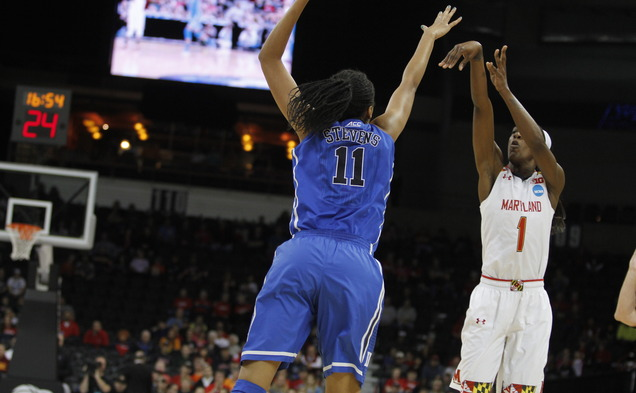 Maryland guard Laurin Mincy hit four of the Terrapins' eight 3-pointers to push past the Blue Devils in the Spokane regional semifinal.